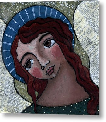 Angel With Blue Halo Metal Print by Julie-ann Bowden