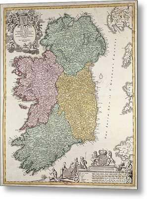 Antique Map Of Ireland Showing The Provinces Metal Print by Johann Baptist Homann