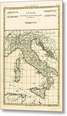 Antique Map Of Italy Metal Print by Guillaume Raynal