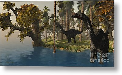 Apatosaurus Island Metal Print by Corey Ford