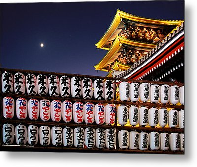 Asakusa Kannon Temple Pagoda And Lanterns At Night Metal Print by Christine Till