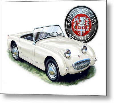 Austin Healey Bug Eye White Metal Print by David Kyte