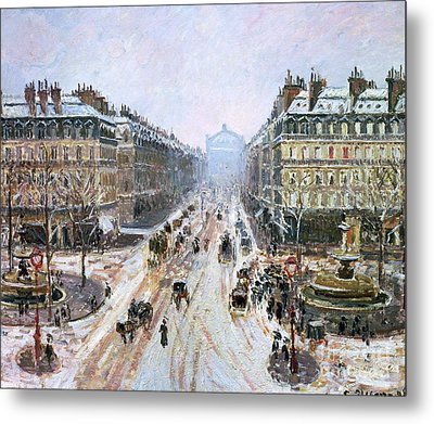 Avenue De L'opera - Effect Of Snow Metal Print by Camille Pissarro