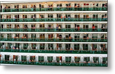 Balcony People Metal Print by Perry Webster