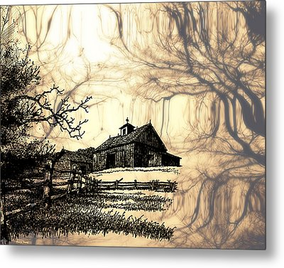 Barn Out Back 2 Metal Print by Cheryl Young