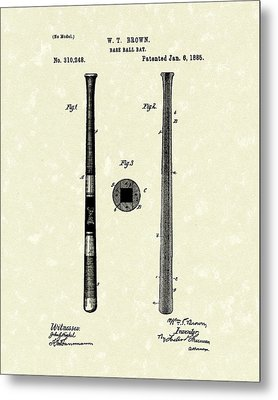 Baseball Bat 1885 Patent Art Metal Print by Prior Art Design