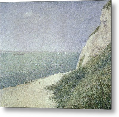 Beach At Bas Butin Metal Print by Georges Pierre Seurat