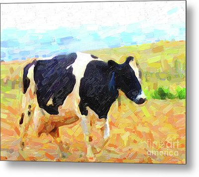 Betsy The Milk Cow Coming Home Metal Print by Wingsdomain Art and Photography
