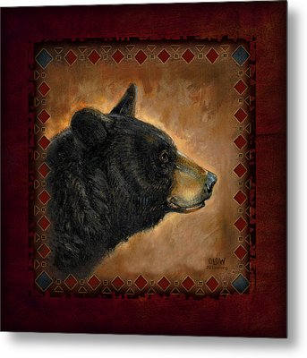 Black Bear Lodge Metal Print by JQ Licensing