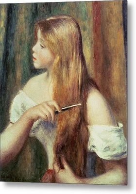Blonde Girl Combing Her Hair Metal Print by Pierre Auguste Renoir