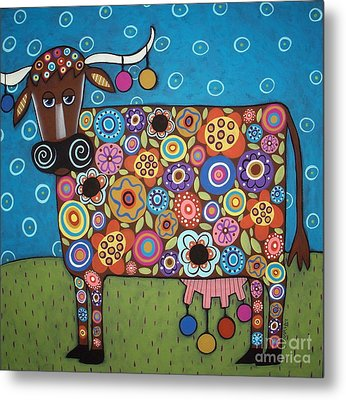 Blooming Cow Metal Print by Karla Gerard