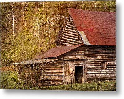 Blue Ridge Mountain Barn Metal Print by Debra and Dave Vanderlaan