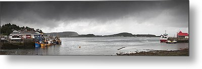 Boats Moored In The Harbor Oban Metal Print by John Short