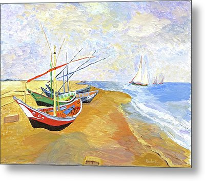 Metal Print featuring the painting Boats On The Beach At Saintes-maries After Van Gogh by Rodney Campbell