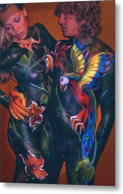 Body Paint Parrot Metal Print by Michael Rutland