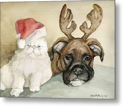 Boxer And Persian Cat Christmas Metal Print by Charlotte Yealey