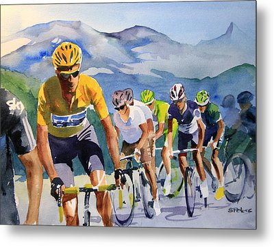 Brad Wiggins In Yellow Metal Print by Shirley  Peters