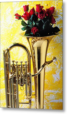 Brass Tuba With Red Roses Metal Print by Garry Gay