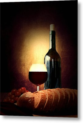 Bread And Wine Metal Print by Lourry Legarde