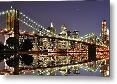Brooklyn Bridge At Night Metal Print by Sean Pavone