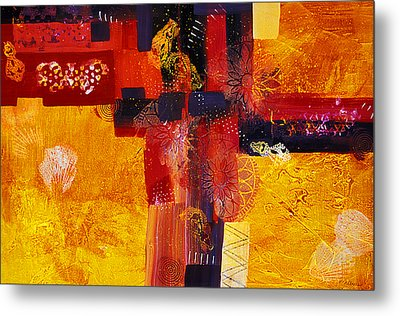 Byzantine Times An Abstract Painting Of Geometric Shapes Metal Print by Phil Albone