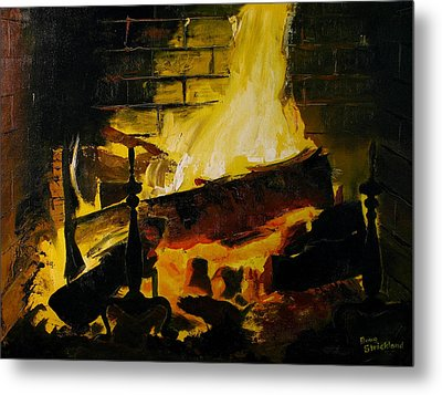 Cabin Fireplace Metal Print by Doug Strickland