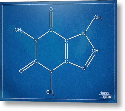 Caffeine Molecular Structure Blueprint Metal Print by Nikki Marie Smith