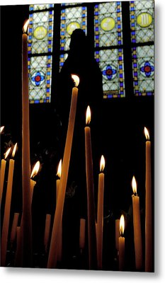 Candles Burning Inside The Basilica Of The Saint Sauveur Metal Print by Sami Sarkis