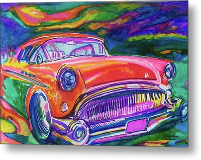 Car And Colorful Metal Print by Evelyn Sprouse Rowe