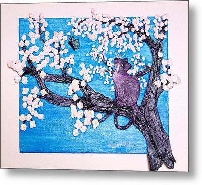 Cat Among The Cherry Blossoms Metal Print by Sarah Swift