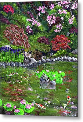 Cat Turtle And Water Lilies Metal Print by Laura Iverson