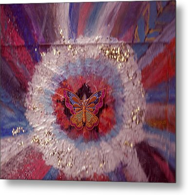 Celebration Of Life With  A Butterfly In The Middle Metal Print by Anne-Elizabeth Whiteway