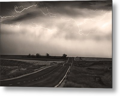 Chasing The Storm - County Rd 95 And Highway 52 - Co- Sepia Metal Print by James BO  Insogna