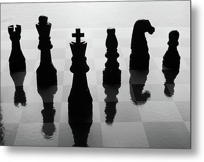 Chess Board And Pieces Metal Print by Jon Schulte