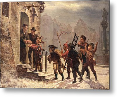 Children Collecting Fruit At The Door   Metal Print by Leopold Til
