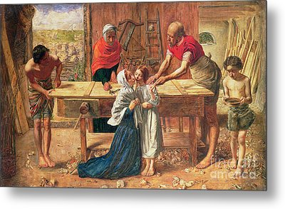 Christ In The House Of His Parents Metal Print by JE Millais and Rebecca Solomon