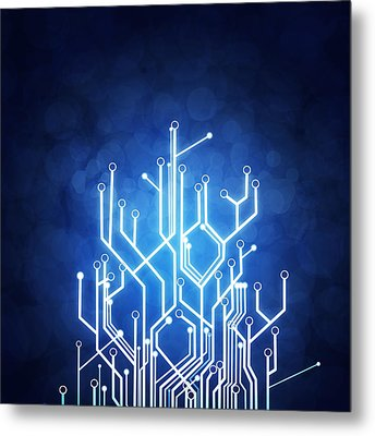 Circuit Board Technology Metal Print by Setsiri Silapasuwanchai