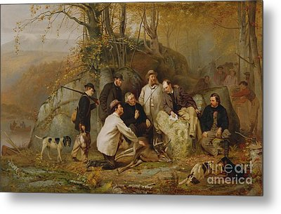 Claiming The Shot - After The Hunt In The Adirondacks Metal Print by John George Brown