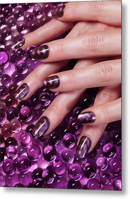 Closeup Of Woman Hands With Purple Nail Polish Metal Print by Oleksiy Maksymenko