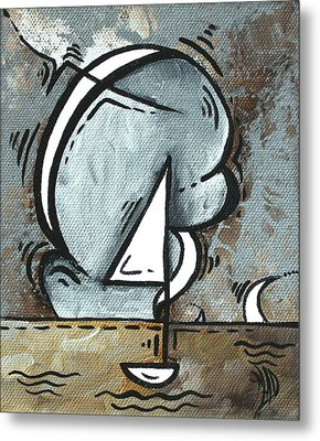 Coastal Art Contemporary Sailboat Painting Whimsical Design Silver Sea I By Madart Metal Print by Megan Duncanson