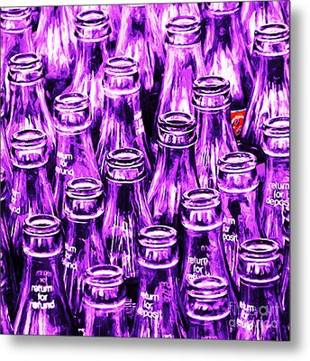 Coca-cola Coke Bottles - Return For Refund - Square - Painterly - Violet Metal Print by Wingsdomain Art and Photography