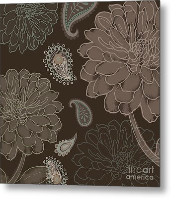 Cocoa Paisley IIi Metal Print by Mindy Sommers