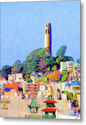 Coit Tower And The Empress Of China - Photo Artwork Metal Print by Wingsdomain Art and Photography