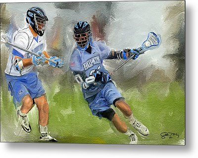 College Lacrosse Attack Metal Print by Scott Melby