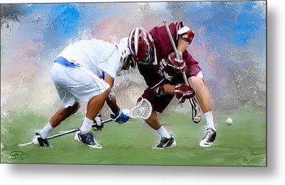 College Lacrosse Faceoff 4 Metal Print by Scott Melby