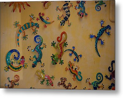 Color Lizards On The Wall Metal Print by Rob Hans
