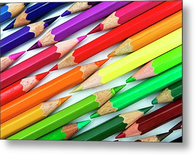Colored Pencil Tips Metal Print by Image by Catherine MacBride