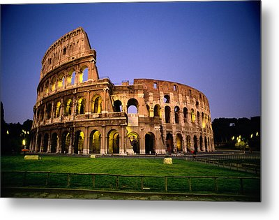 Colosseum At Night, Rome, Italy Metal Print by Richard Nowitz
