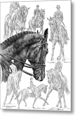 Contemplating Collection - Dressage Horse Drawing Metal Print by Kelli Swan