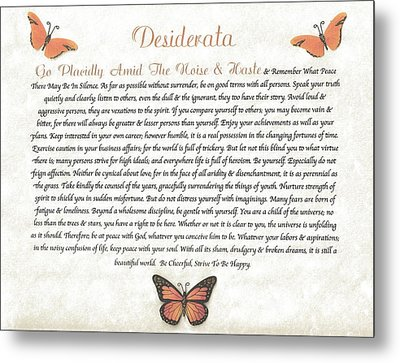 Copper Butterfly Desiderata Metal Print by Desiderata Gallery